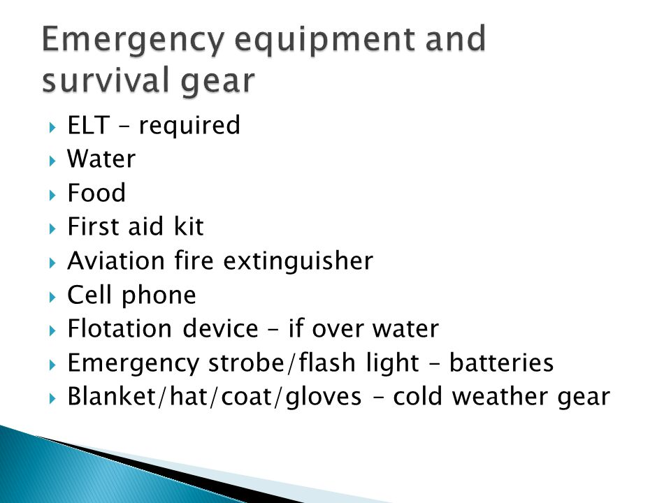 Emergency equipment and survival gear