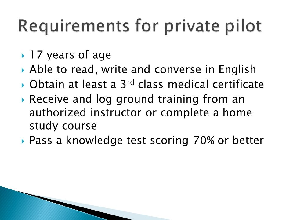 Requirements for private pilot