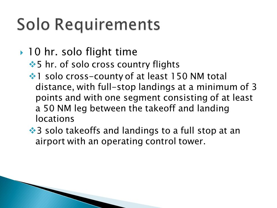 Solo Requirements 10 hr. solo flight time