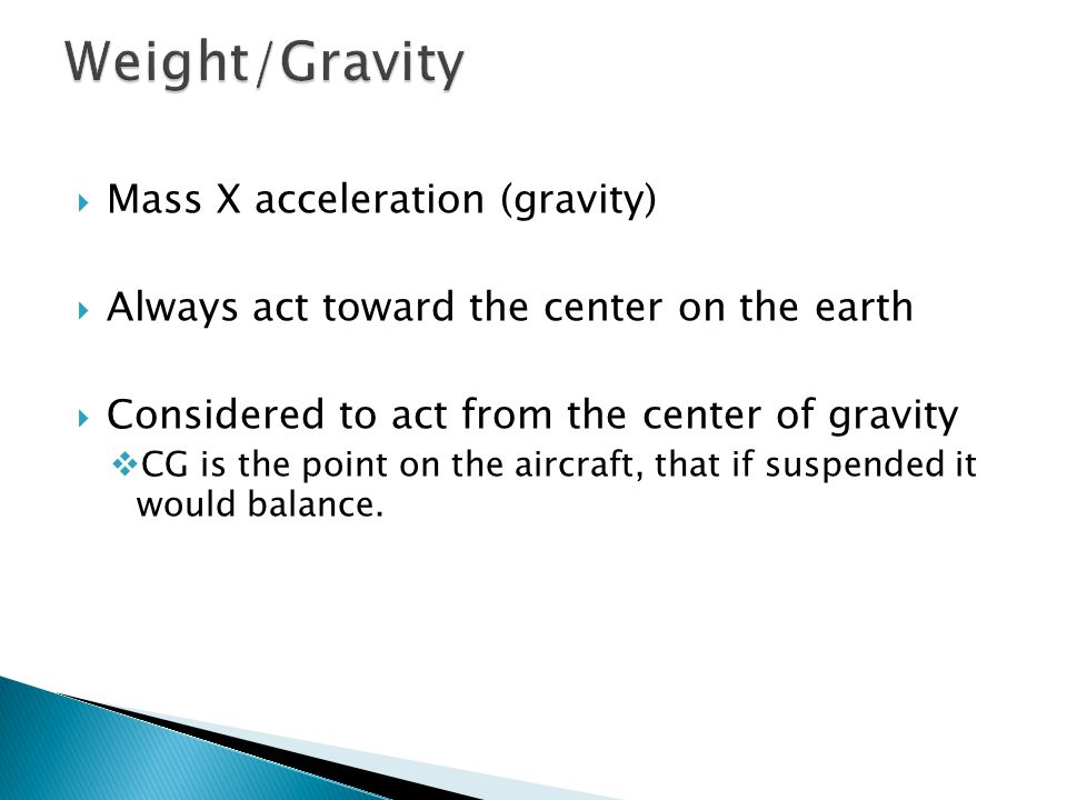 Weight/Gravity Mass X acceleration (gravity)