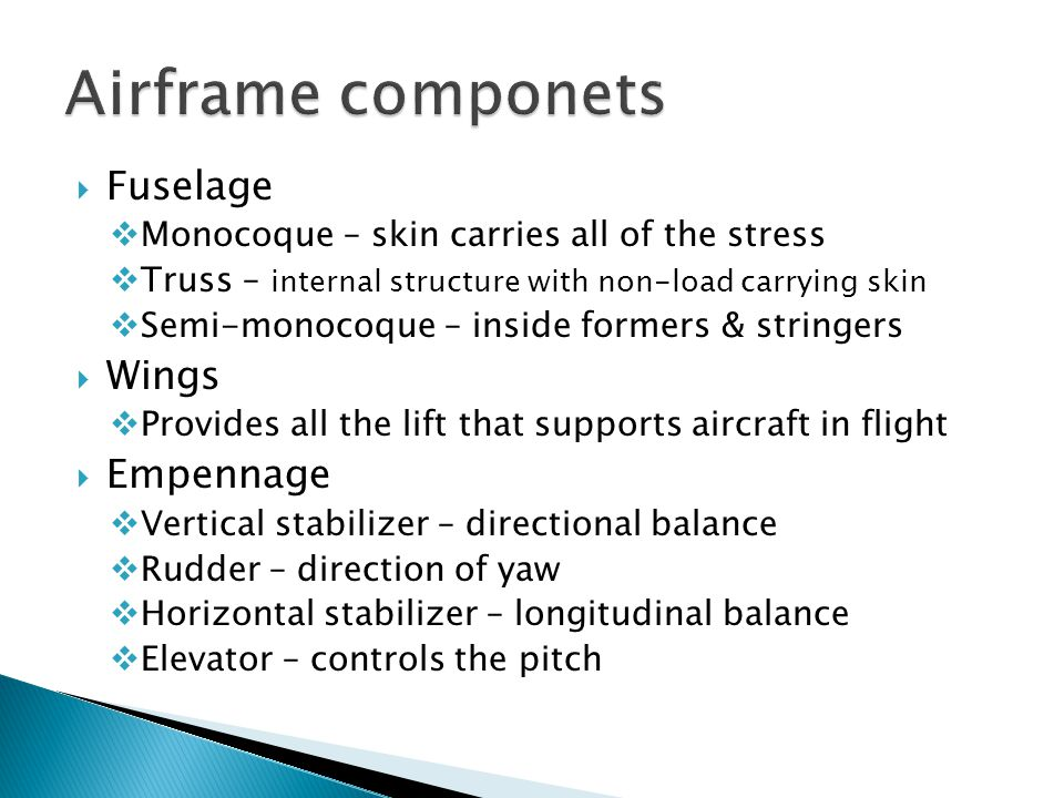 Airframe componets Fuselage Wings Empennage