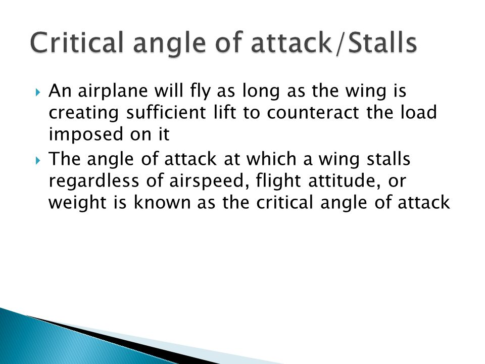 Critical angle of attack/Stalls