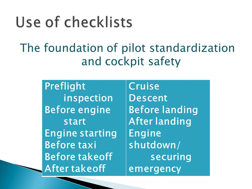 The foundation of pilot standardization and cockpit safety