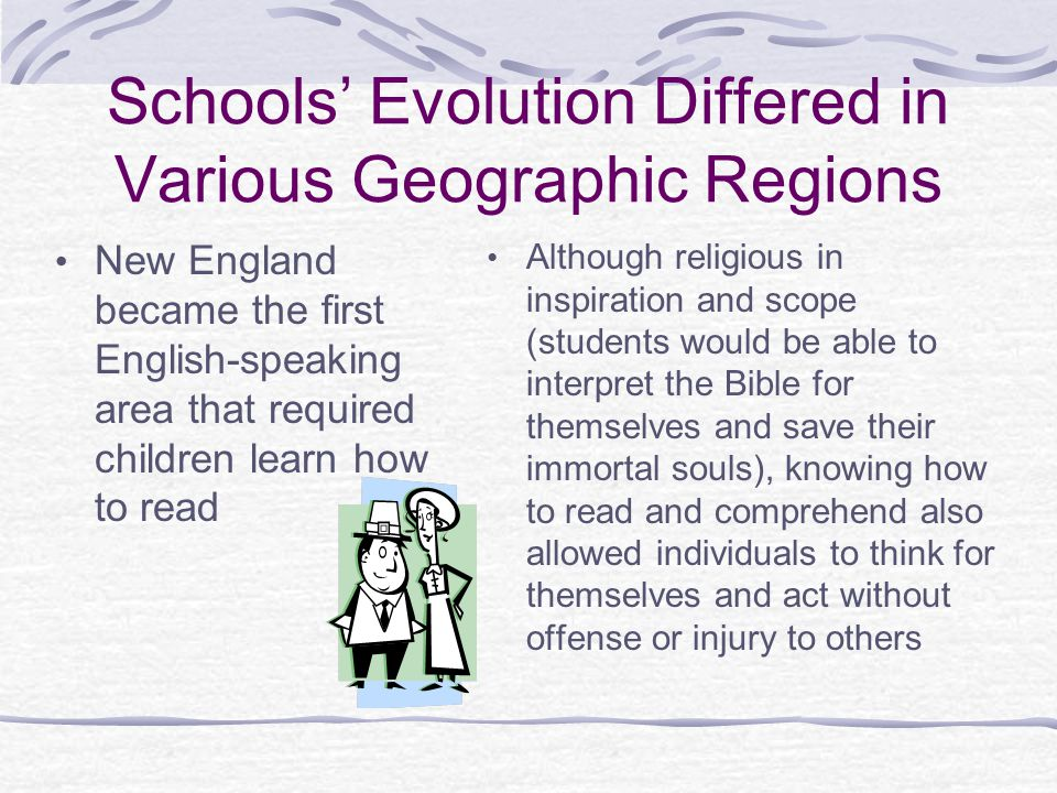 Schools' Evolution Differed in Various Geographic Regions
