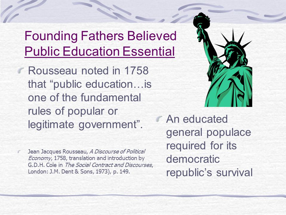 Founding Fathers Believed Public Education Essential