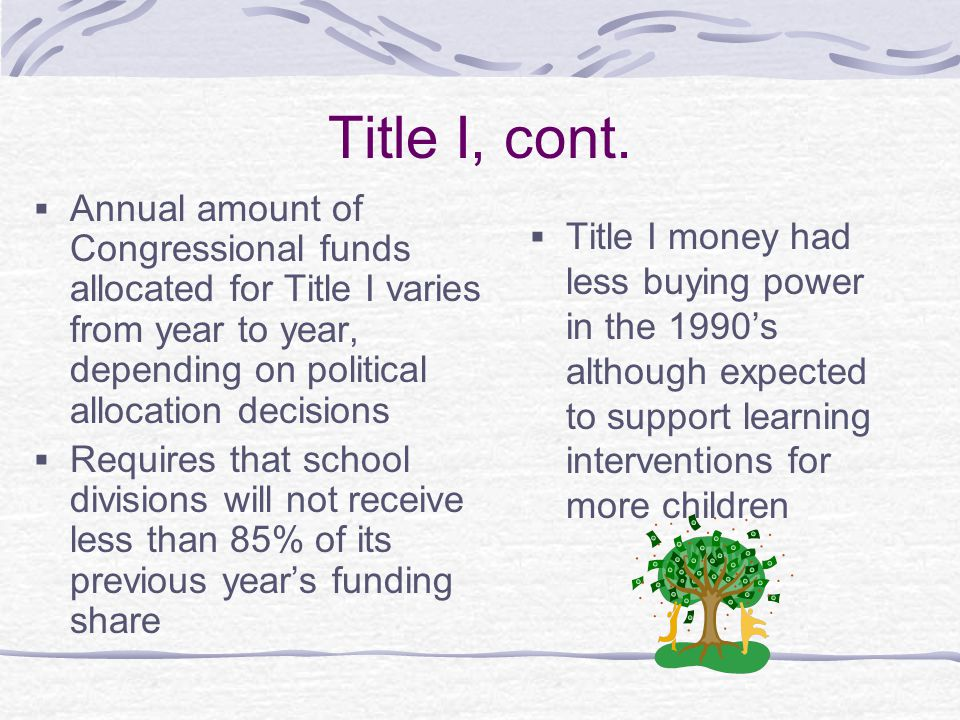 Title I, cont. Annual amount of Congressional funds allocated for Title I varies from year to year, depending on political allocation decisions.