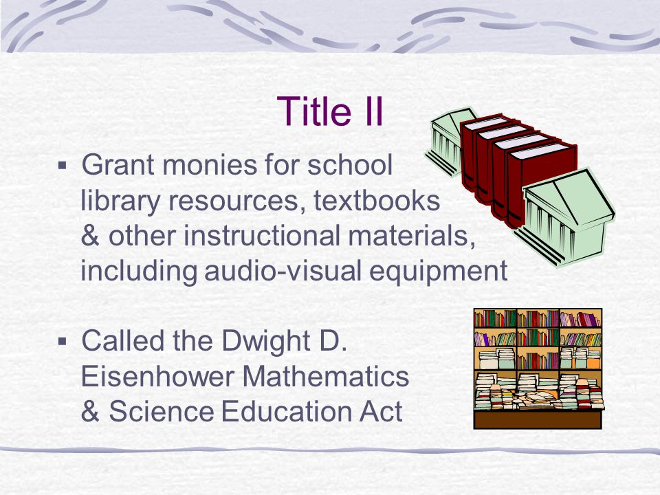 Title II Grant monies for school library resources, textbooks