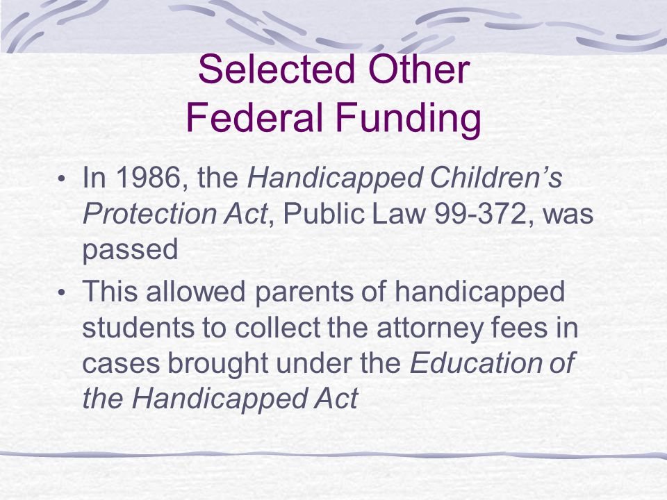 Selected Other Federal Funding