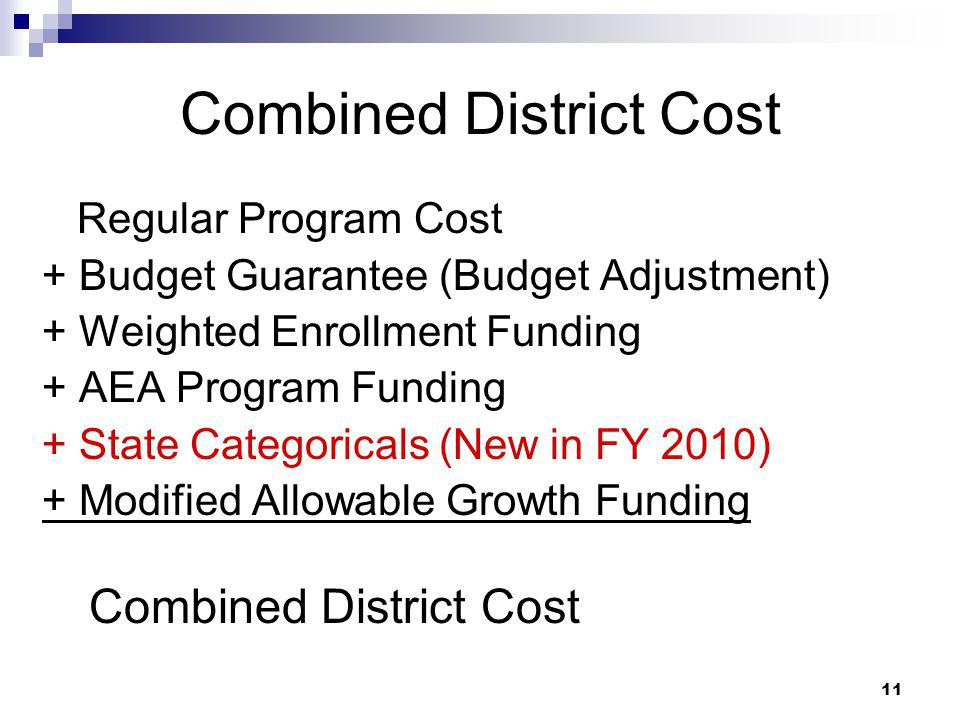 Combined District Cost