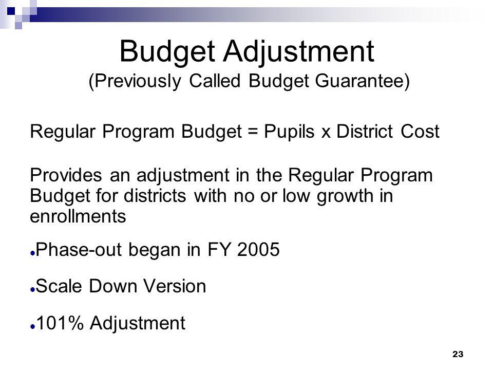 Budget Adjustment (Previously Called Budget Guarantee)