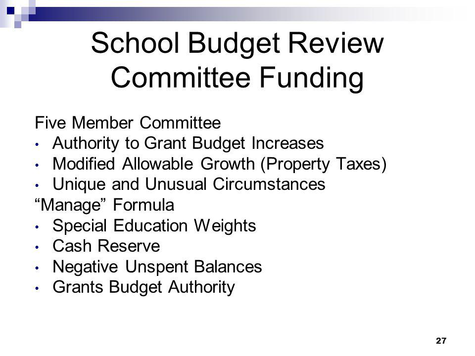 School Budget Review Committee Funding