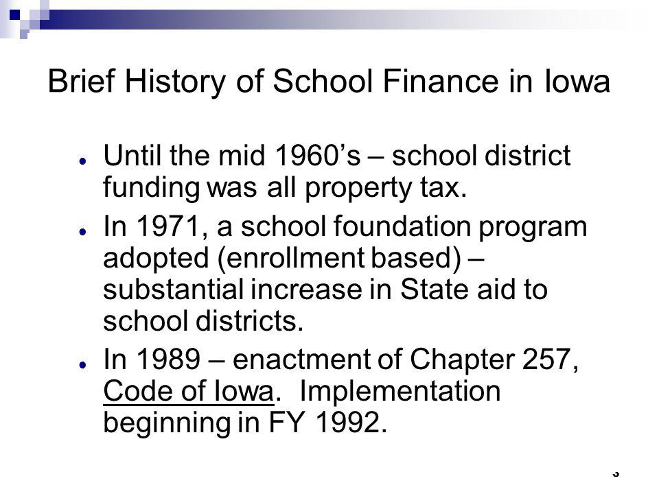 Brief History of School Finance in Iowa