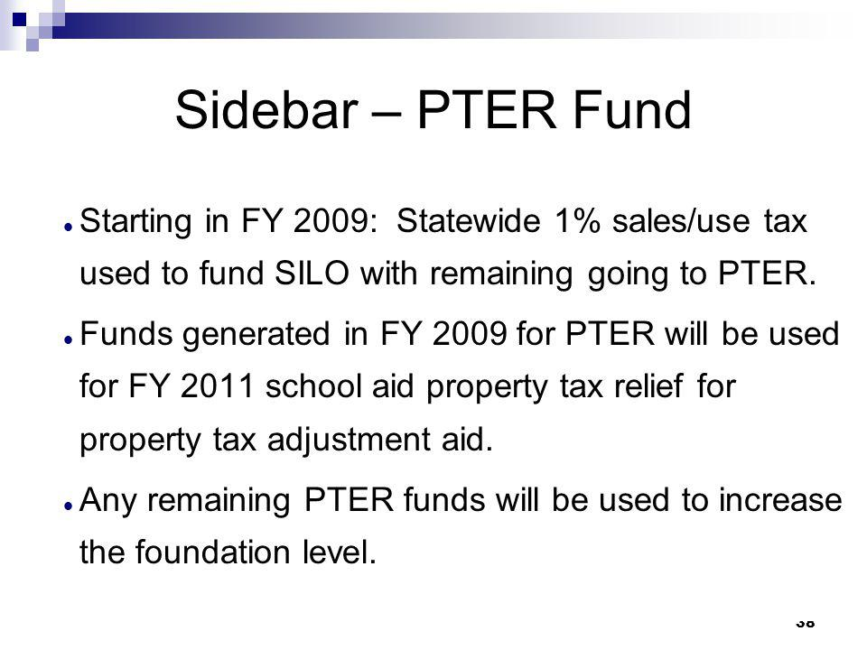 Sidebar – PTER Fund Starting in FY 2009: Statewide 1% sales/use tax used to fund SILO with remaining going to PTER.