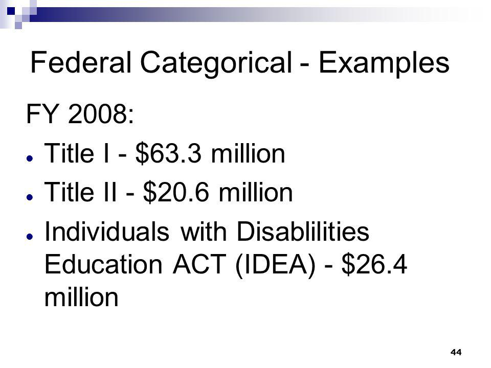 Federal Categorical - Examples