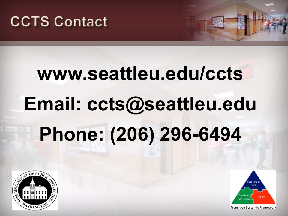 CCTS Contact www.seattleu.edu/ccts Email: ccts@seattleu.edu Phone: (206) 296-6494