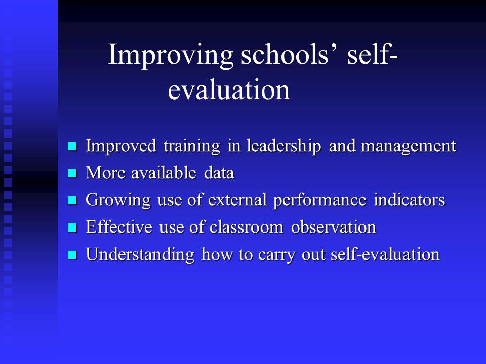 Improving schools' self-evaluation