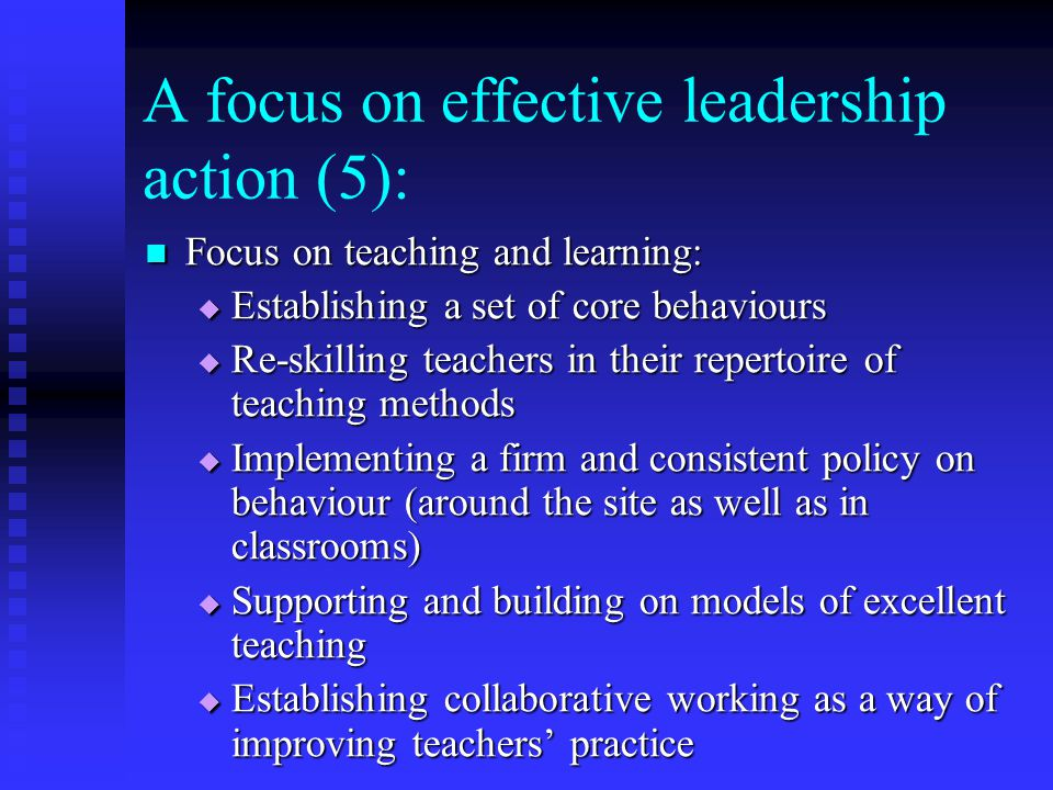 A focus on effective leadership action (5):