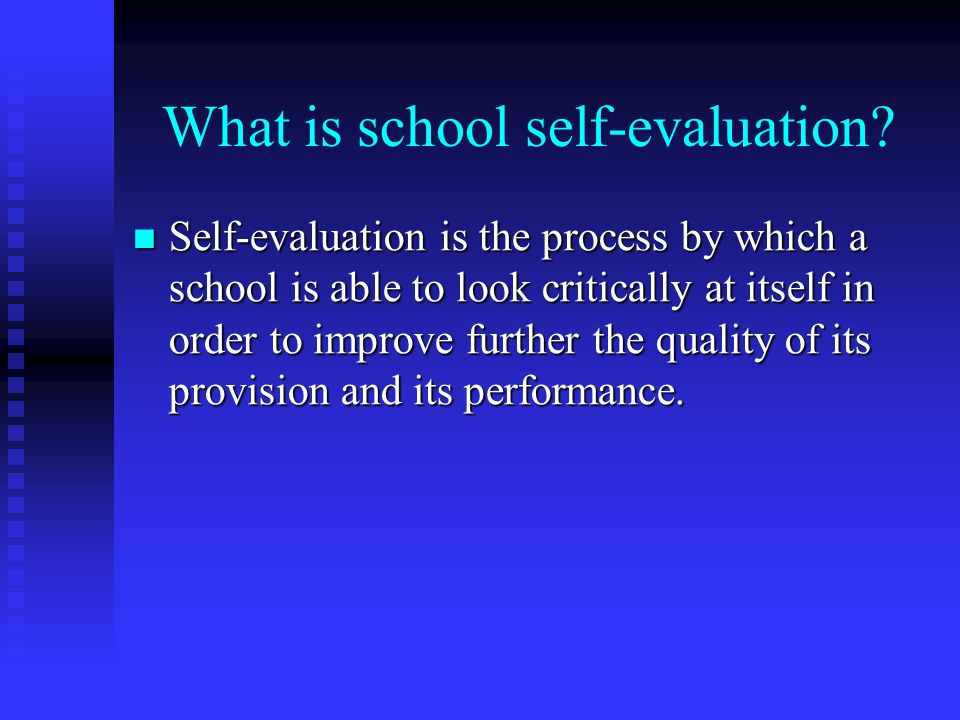 What is school self-evaluation