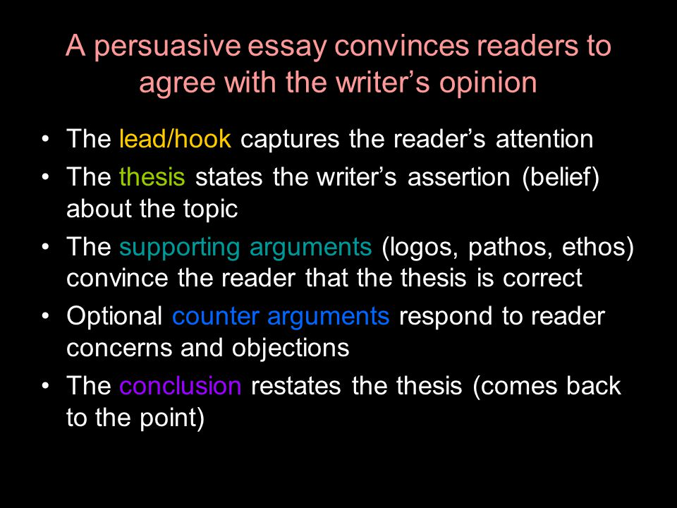 A persuasive essay convinces readers to agree with the writer's opinion