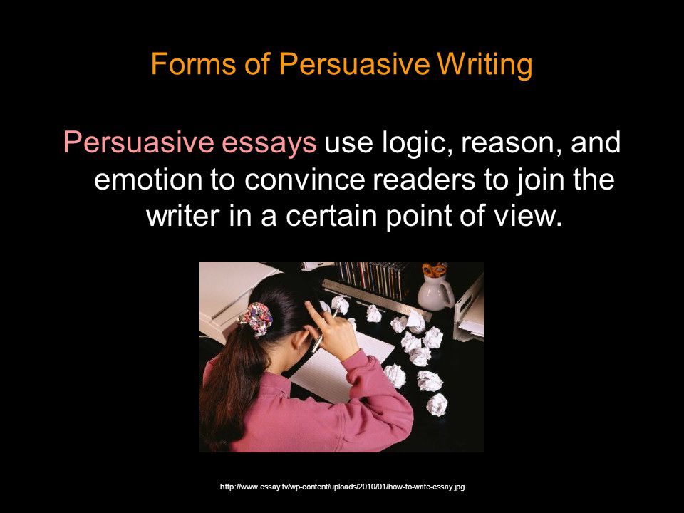 persuasive essay logic How to write a good persuasive speech the author of the persuasive essay has to the person delivering a persuasive speech uses logic and facts.