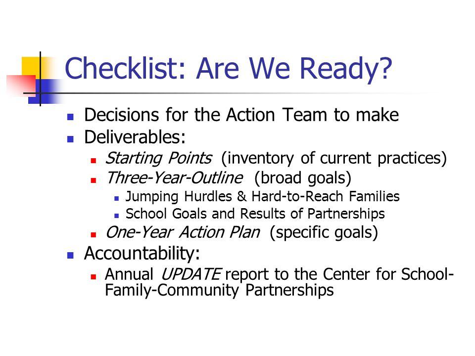 Checklist: Are We Ready