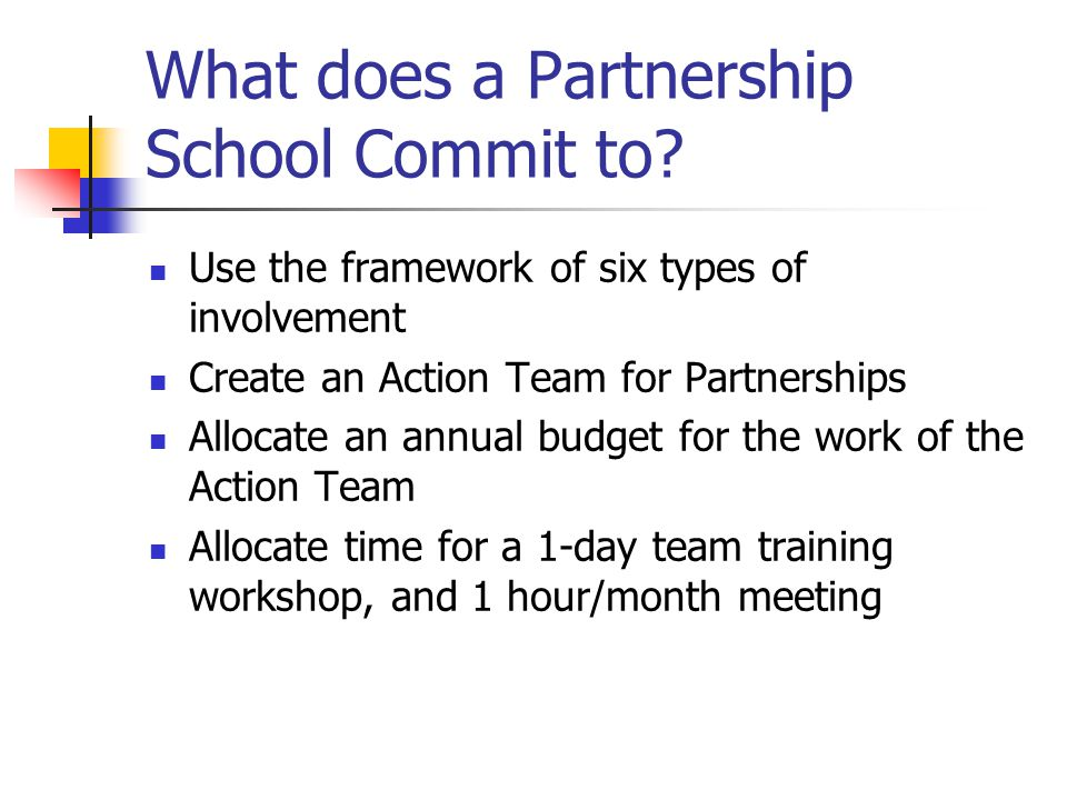 What does a Partnership School Commit to
