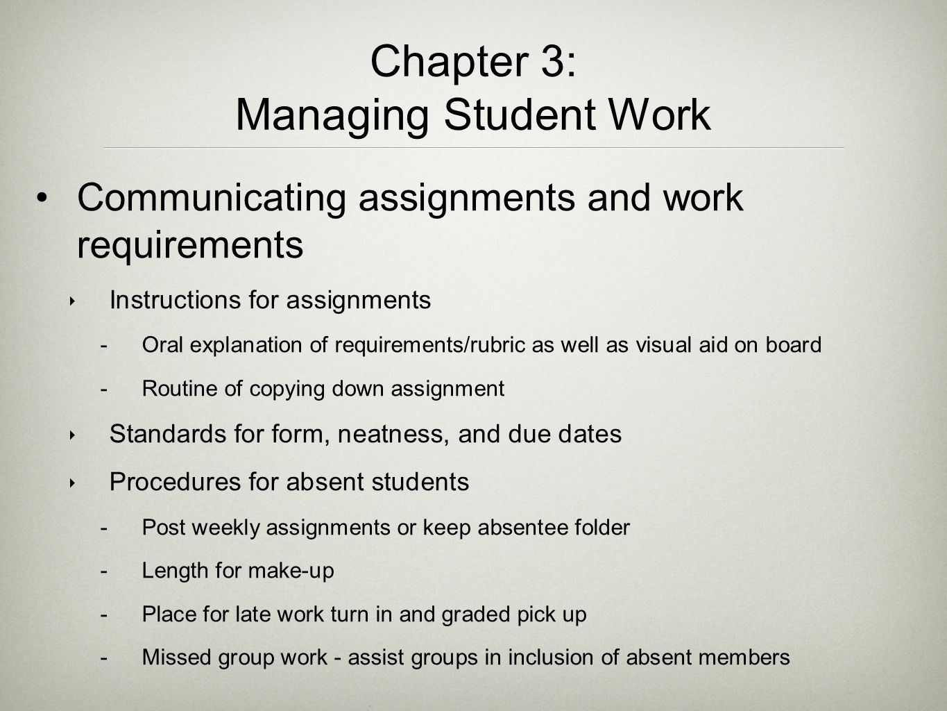 Chapter 3: Managing Student Work