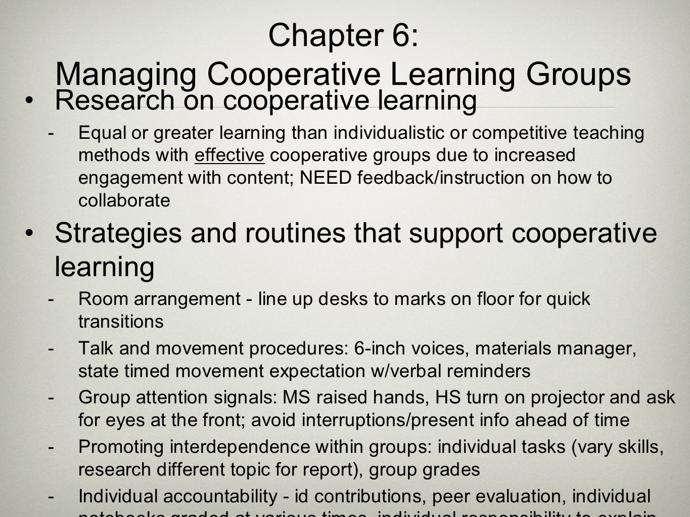 Chapter 6: Managing Cooperative Learning Groups