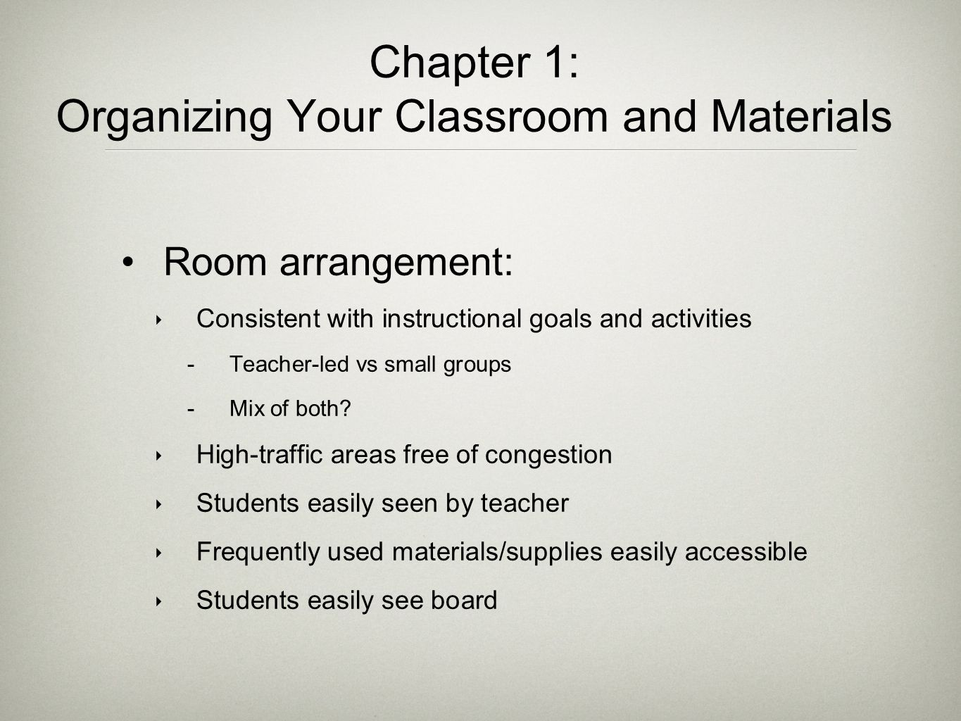 Chapter 1: Organizing Your Classroom and Materials