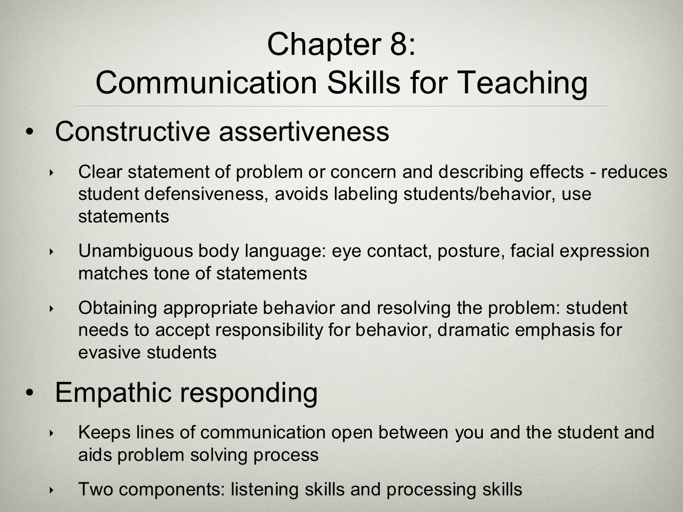 Chapter 8: Communication Skills for Teaching