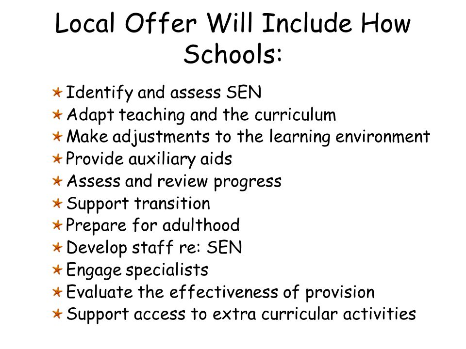 Local Offer Will Include How Schools: