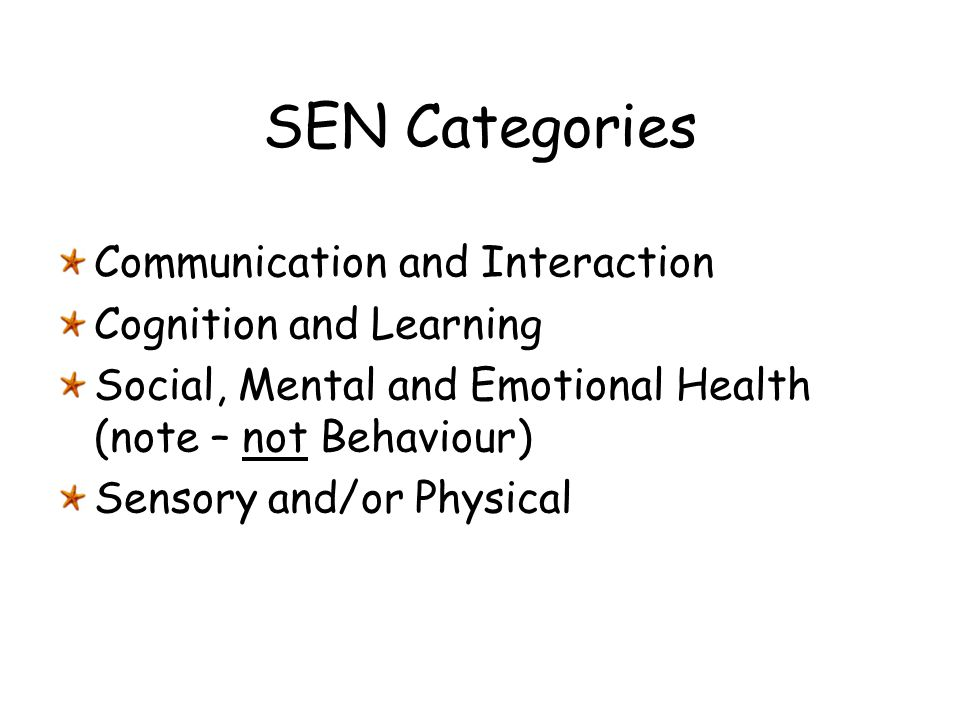 SEN Categories Communication and Interaction Cognition and Learning