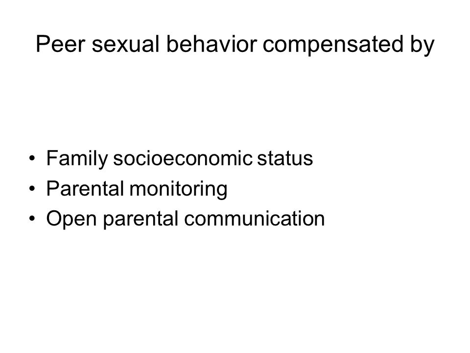 Peer sexual behavior compensated by