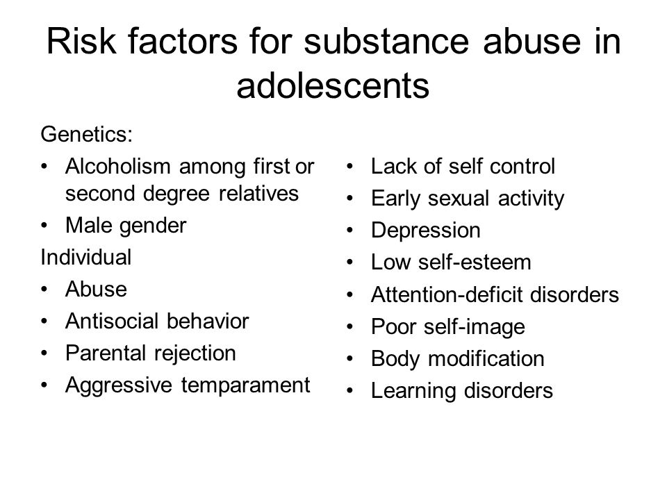Risk factors for substance abuse in adolescents