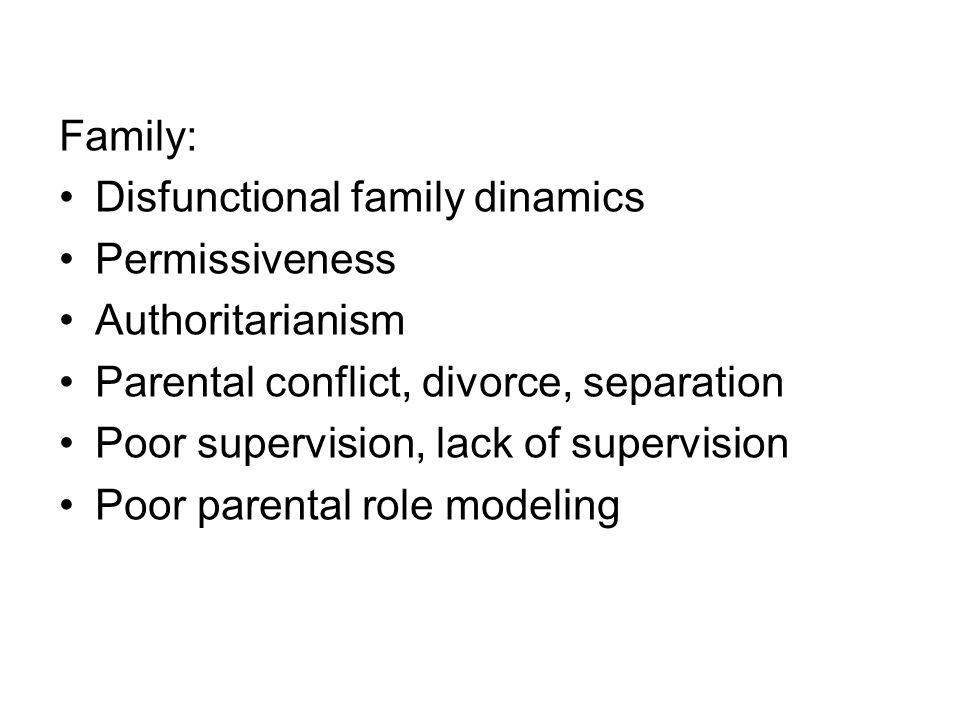 Family: Disfunctional family dinamics. Permissiveness. Authoritarianism. Parental conflict, divorce, separation.