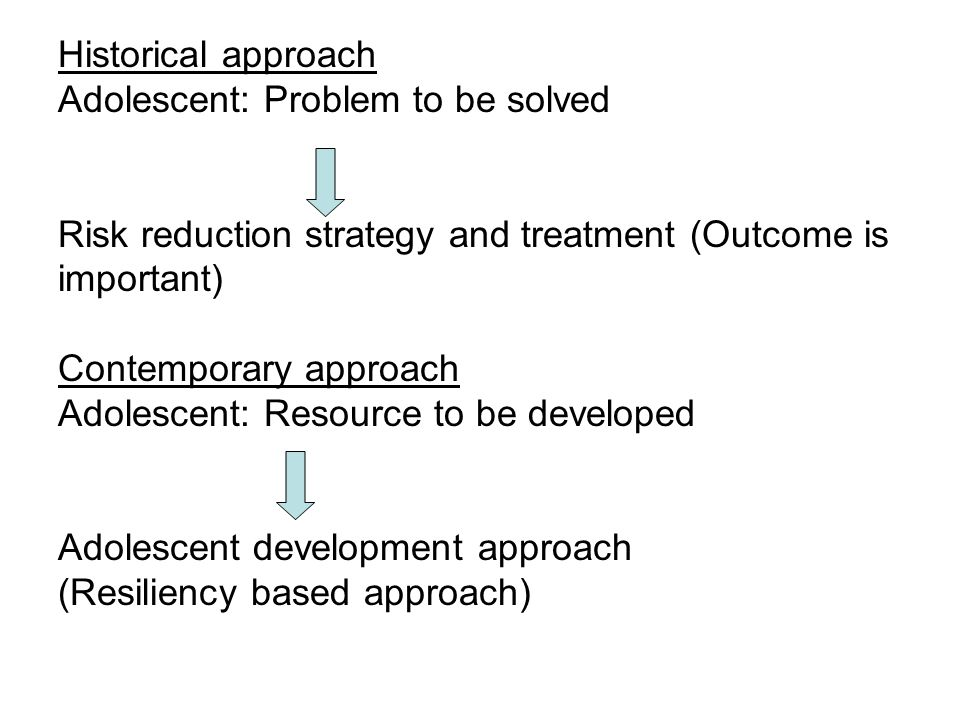 Historical approach Adolescent: Problem to be solved. Risk reduction strategy and treatment (Outcome is.