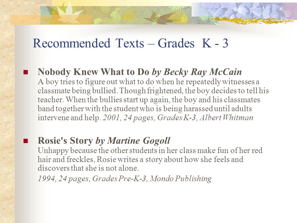 Recommended Texts – Grades K - 3