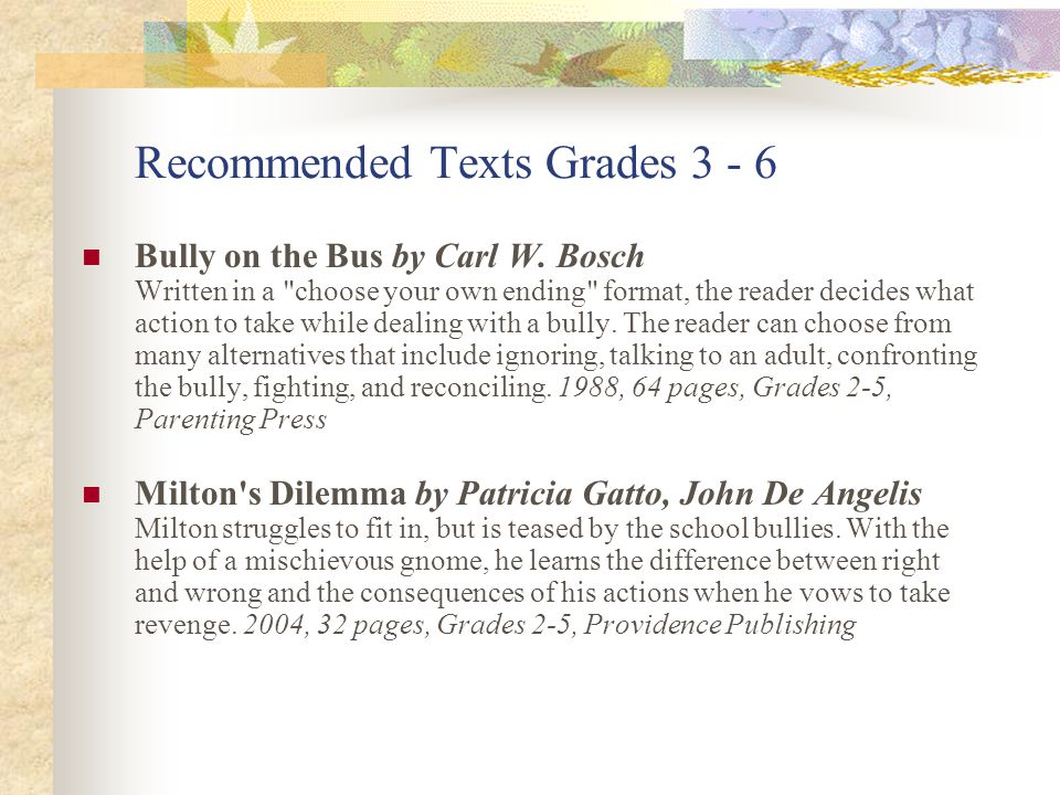 Recommended Texts Grades 3 - 6