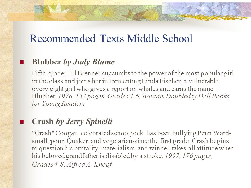 Recommended Texts Middle School