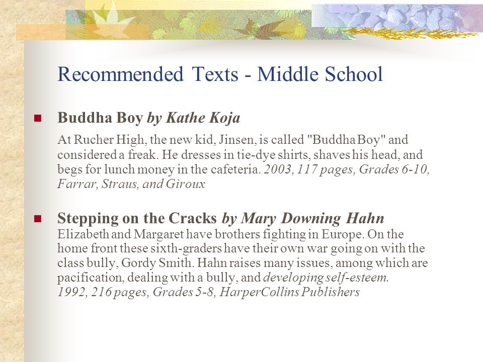 Recommended Texts - Middle School