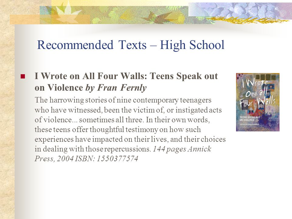 Recommended Texts – High School