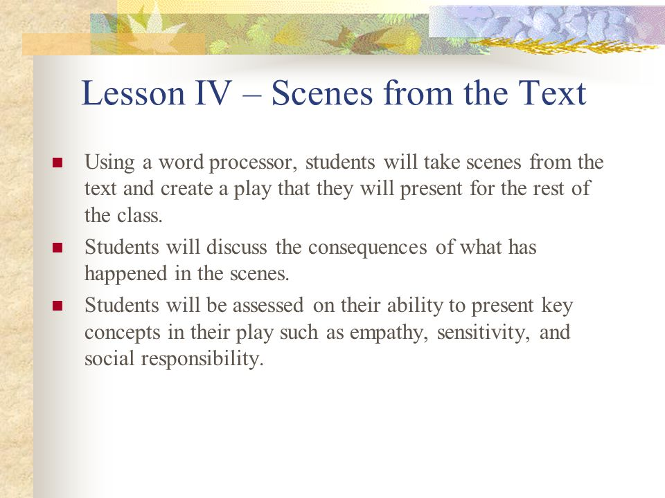 Lesson IV – Scenes from the Text