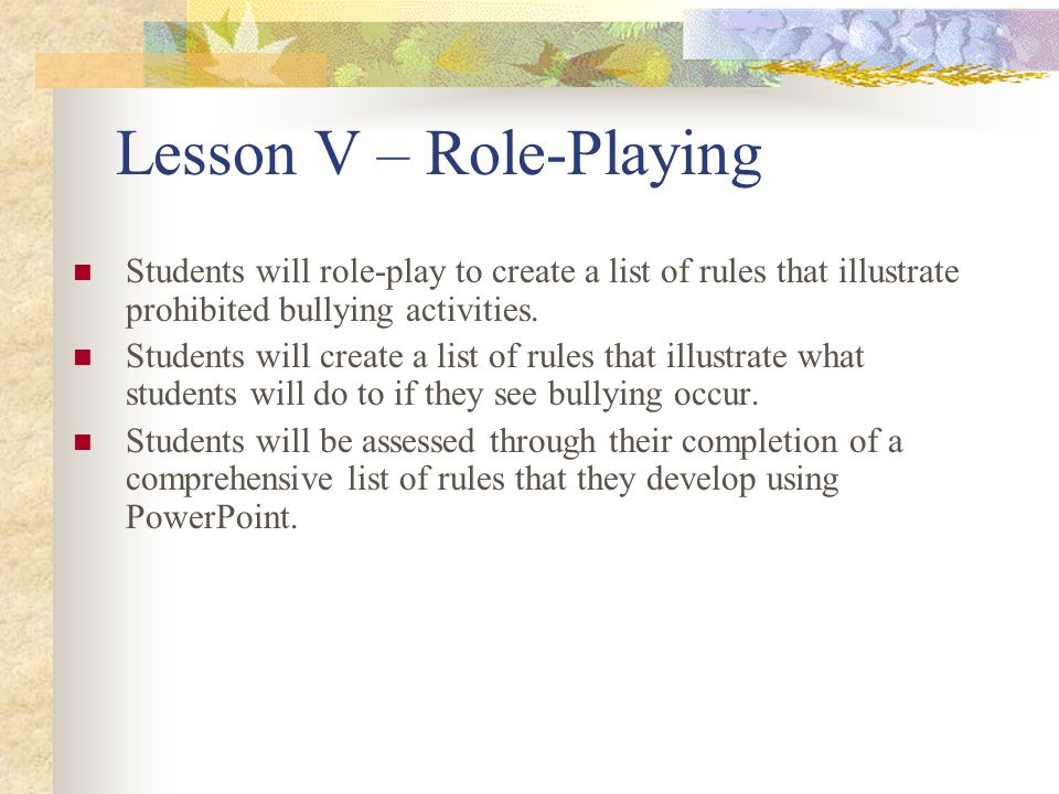 Lesson V – Role-Playing