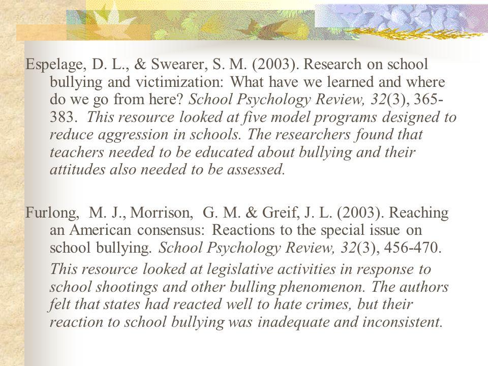Espelage, D. L. , & Swearer, S. M. (2003)