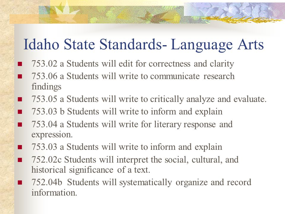 Idaho State Standards- Language Arts