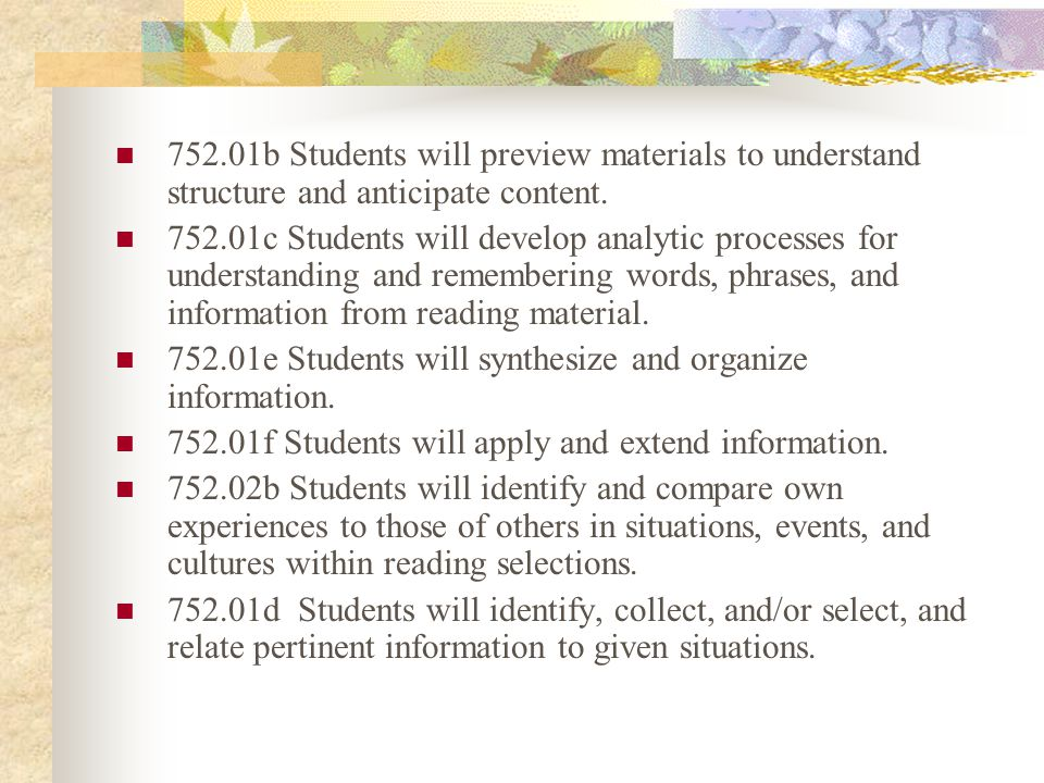 752.01b Students will preview materials to understand structure and anticipate content.
