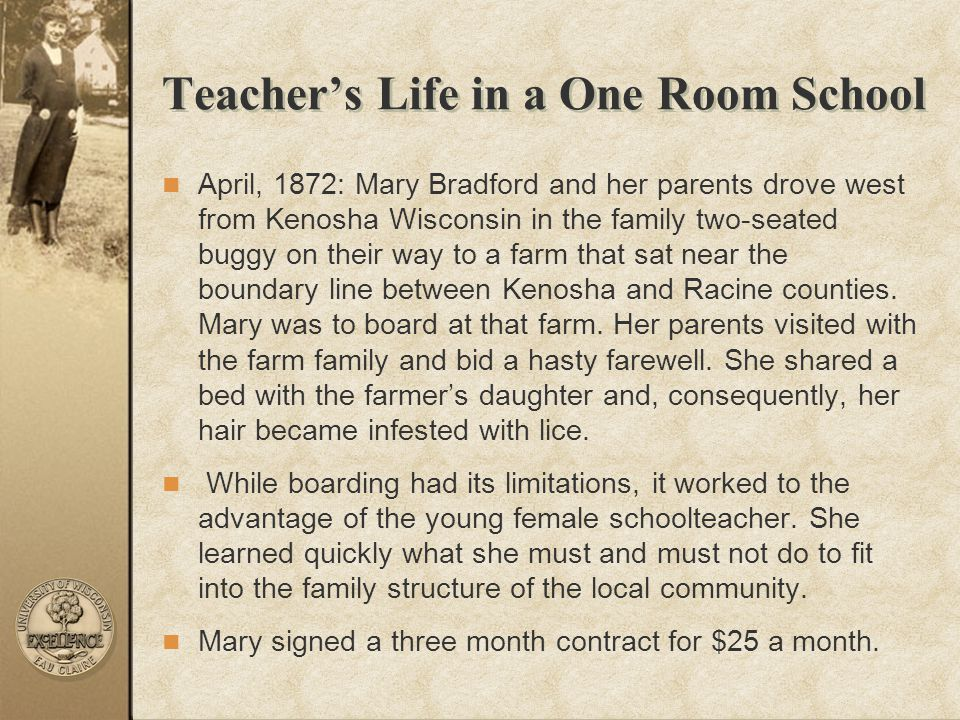 Teacher's Life in a One Room School