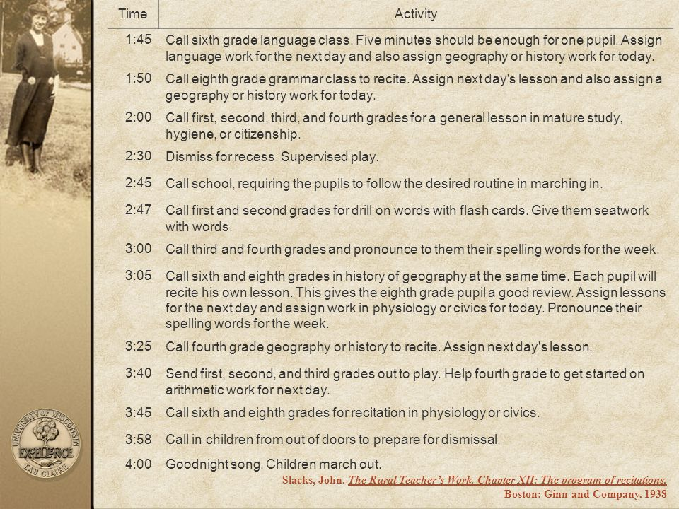 Dismiss for recess. Supervised play. 2:45