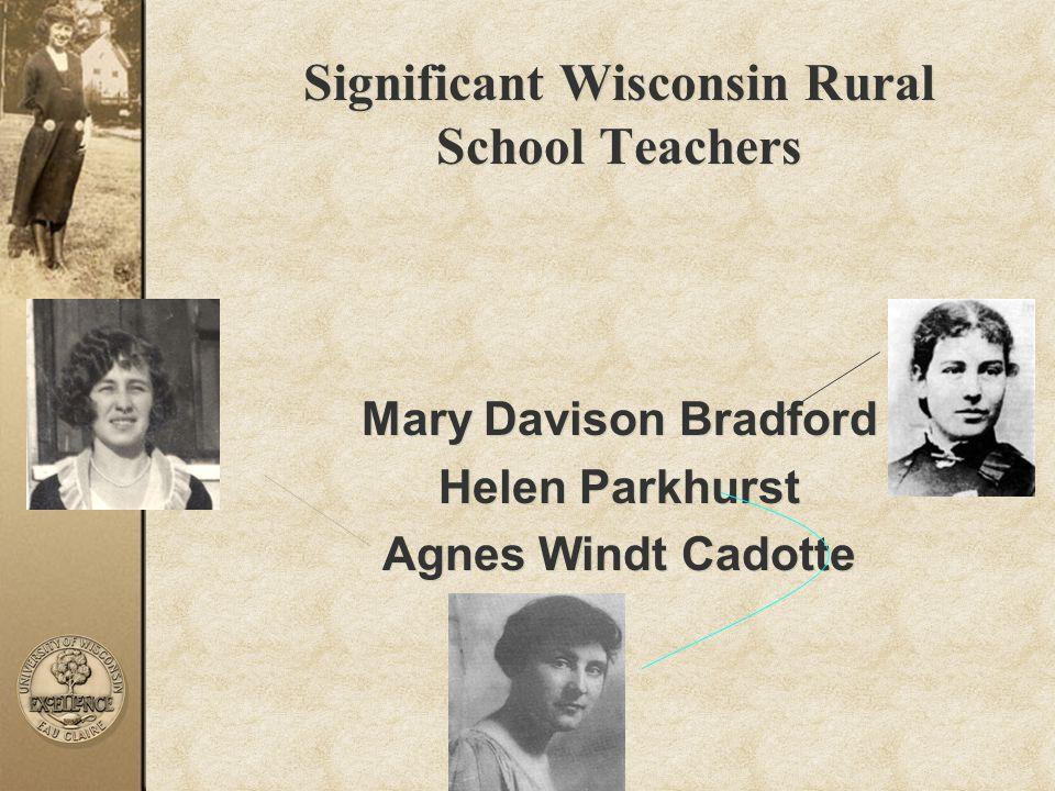 Significant Wisconsin Rural School Teachers