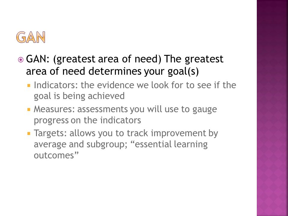 GAN GAN: (greatest area of need) The greatest area of need determines your goal(s)